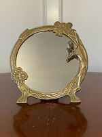 """Vintage Art-Nouveau-Style 9"""" Round Solid Brass Vanity Mirror Lady w/ Flowers"""