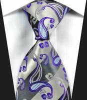 Classic Paisley Silver Purple Gray JACQUARD WOVEN 100% Silk Men's Tie Necktie