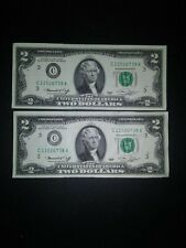 (2) CRISP USA 1976 Sequential $2 DOLLAR BILL NOTES, RARE!!!