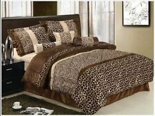 7 Piece Safari Zebra Giraffe Print Brown Micro Fur Comforter, Bed in Bag, Queen