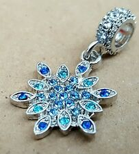 Crystal Winter SNOWFLAKE Dark Light Aqua Blue CZ Christmas European Dangle Charm