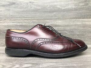Vintage Footjoy Wingtip Oxford Dress Shoes Red Leather Golf Rubber Mens 9 EEE