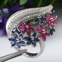 NATURAL HEATED BLUE SAPPHIRE WITH RED RUBY & WHITE CZ RING 925 STERLING SILVER
