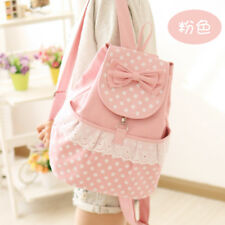 Korean Students Japanese Style Kawaii Dot Lace Bow Backpack Canvas School