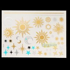 Flash Sexy Products Metallic Waterproof Temporary Tattoo Gold Silver Sun Moon