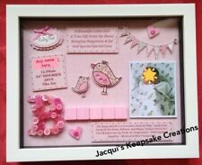 Personalised NEW BABY GIRL Frame Picture GIFT Keepsake FREE PHOTO Scrabble