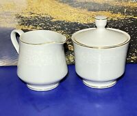 NORLEANS Fine China White Lace pattern Creamer & Sugar Bowl with Lid Set