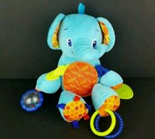 """Bright Starts Plush Blue 10"""" Elephant Baby Rattle Teether Crinkle Toy Rings"""