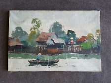 China Oil Painting Art Landscape Chinese Hong Kong Koi Canal Fishing Village