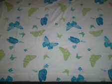 Pottery Barn Teen Twin Flat Sheet Fabric Butterflies Blue Green Yellow Floral