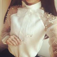 Elegant Women Organza Bow of Pearl Blouse Casual Winter Lady Chiffon Shirt Tops
