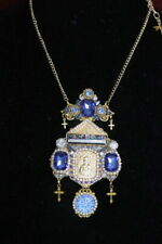 Zibellini Virgin Mary Guadalupe Madonna Saint Blue  Pendant Necklace