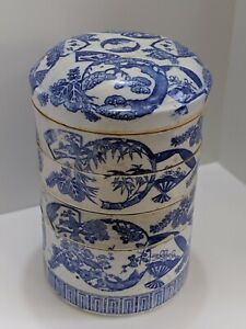 Antique Japanese Blue And White Porcelain Juboko/Jubako Bento Lunch Box