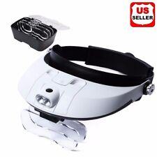 Magnifying Glass Lens LED Light Visor Head Loupe Jeweler Craft Hobby Magnifier A