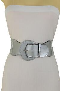 New Women Silver Stretch Waistband Chic Look Fashion Belt Hip Waist Fit Size M L