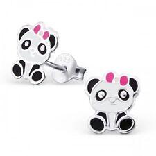 Ladies Girls Sterling Silver Cute Panda with Pink Bow Stud Pair Earrings - Boxed