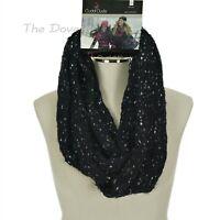 CUDDL DUDS Women's BLACK White & Grey SPECKLED INFINITY SCARF Winter Loop