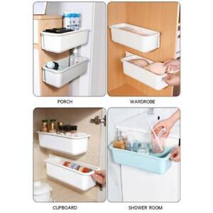 Under Sink Organizer Wall Mount Pull Out Cabinet Storage Box Sliding Drawer Rack