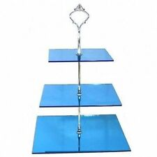 Three Tier Square Cake Stand - Mirrored Blue