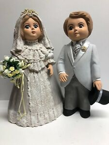 VINTAGE Wedding Cake Decoration  Ceramic Bride & Groom Handmade Signed  649132