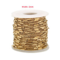 2 Meters Gold Plated Stainless Steel Tube Beaded Cable Link Chain DIY Findings