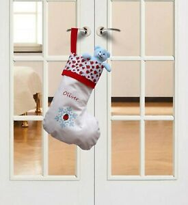 ROBIN & SNOWFLAKE 50CM PERSONALISED CHRISTMAS STOCKING WITH EMBROIDERED NAME