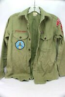 Vintage 1960's Boy Scouts of America Army Green Long-Sleeve Shirt with Patches
