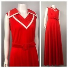 1970s Maxi Dress / Scarlet Red Stripe Belted Sleeveless Long Dress / Medium