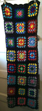 "Vintage Crocheted Granny Square Quilt Soft Yarn Black 64"" x 45"""