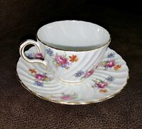 AYNSLEY Bone China TEA CUP & SAUCER SET White Floral MINT MADE IN ENGLAND