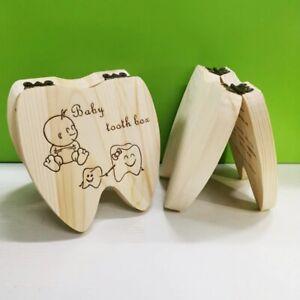 Wooden Baby Tooth Box English Milk Teeth Umbilical Organizer Storage Boys Girls