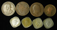 Lot of 8 India-British 1/2 Pice, 1/4, 1/2 Anna 1894-1947