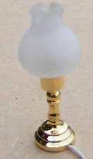 1:12 Scale Working Table Oil Lamp Frosted Shade Dolls House Miniature Light 1007