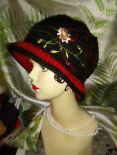 CROCHET LADIES CLOCHE HAT. HANDMADE, UNIQUE ONE OFF BLACK RED VINTAGE STYLE.