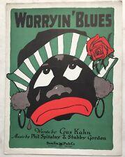 1924 Poster Quality BLACK AMERICANA sheet music WORRYIN' BLUES Sam Fox CLEVELAND