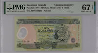 Solomon Islands 2 Dollars 2001 P 23 Polymer Superb Gem UNC PMG 67 EPQ
