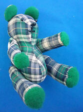 """6"""" teddy bear jointed heart buttons green & blue plaid Christmas ornament"""