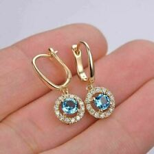 4Ct Round Cut Blue Topaz Gorgeous Drop & Dangle Earrings 14K Yellow Gold Over