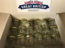 20 x Small Empty 45ml Mini Glass Jars with Gold Lids - Wedding Favours / Jam