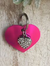 Personalized PET ID TAGS  ENGRAVED DOG CAT NAME TAG Pink Heart W/ Bling Heart