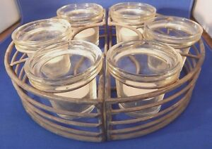 Round 2 Pc Iron Candle Holder Centerpiece 6 Glass Cups Tea Lights Very Good
