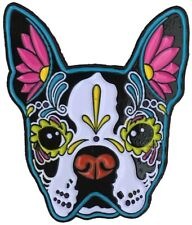 Boston Terrier Sugar Skull Dog Enamel Pin Lapel Bag New Cali Pretty In Ink
