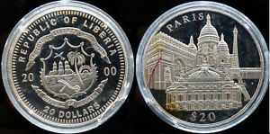 LIBERIA 20 DOLLARS be  PARIS  2000 ARGENT 20,10 grammes