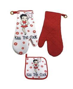 Betty Boop Pot holder/Oven mitt set Kiss the Cook