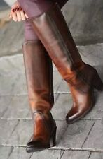 FRYE CAMPUS MUSTANG PULL ON REDWOOD BROWN FULL GRAIN LEATHER 76954 BOOTS SZ 7.5