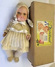 """Very Early Rosebud Hard Plastic Doll 10"""" Painted Eye Baby Doll 74/4/0 Boxed"""