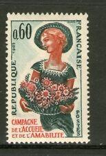 TIMBRE 1449 NEUF XX - FEMME AVEC DES FLEURS