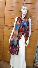 SCARF LONG FELTED CHIFFON SILK SHAWL WRAP MADE IN EUROPE HOLIDAY GIFT WOMEN GIFT