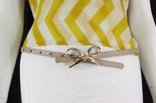 N. Women White Beige Blue Thin Faux Leather Fashion Belt Gold Bow Buckle S/M M/L
