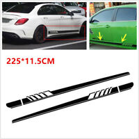 Sport Car Body Side Skirt Decoration Sticker Black Stripe Waterproof Vinyl Decal